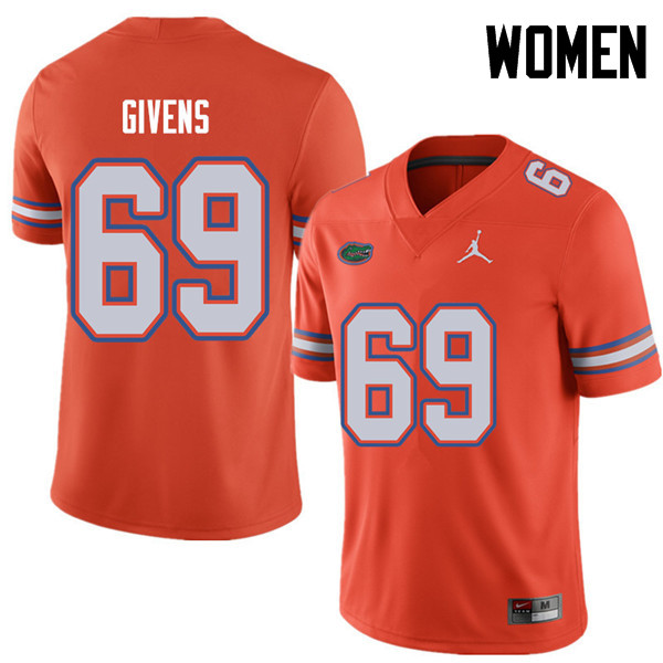 Jordan Brand Women #69 Marcus Givens Florida Gators College Football Jerseys Sale-Orange